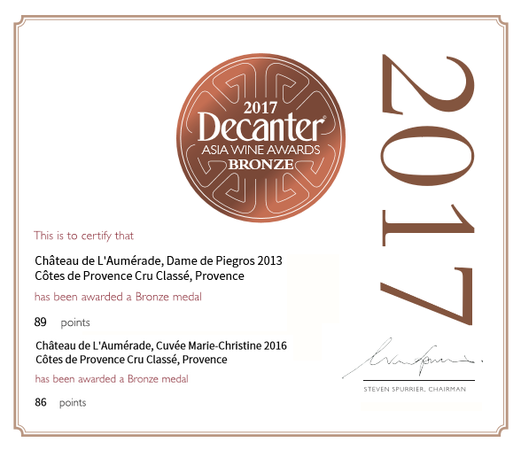SELECTION DE NOS VINS PAR DECANTER ASIA 2017